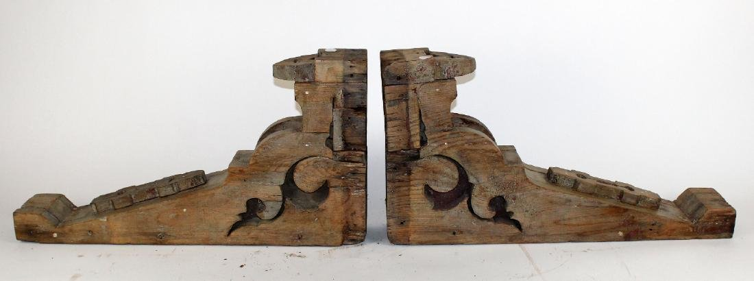 Pair of wooden corbels
