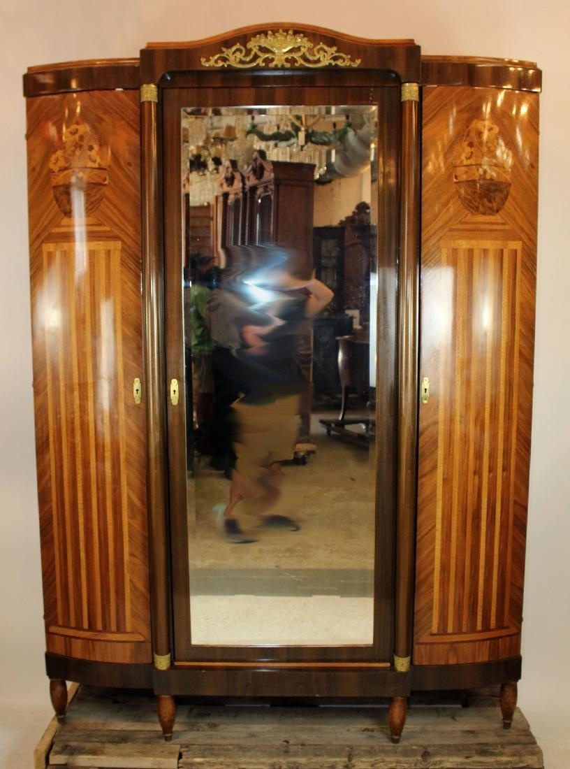 Louis XVI style 3 door marquetry armoire