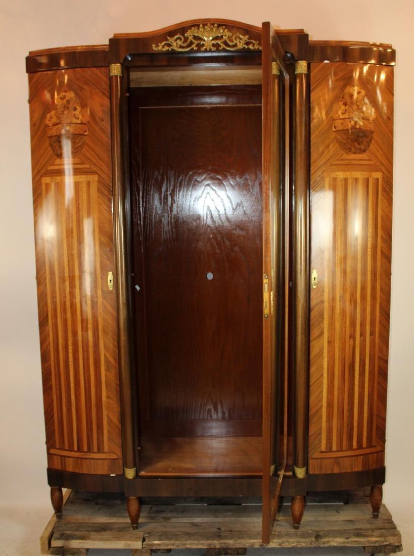 Louis XVI style 3 door marquetry armoire - 4