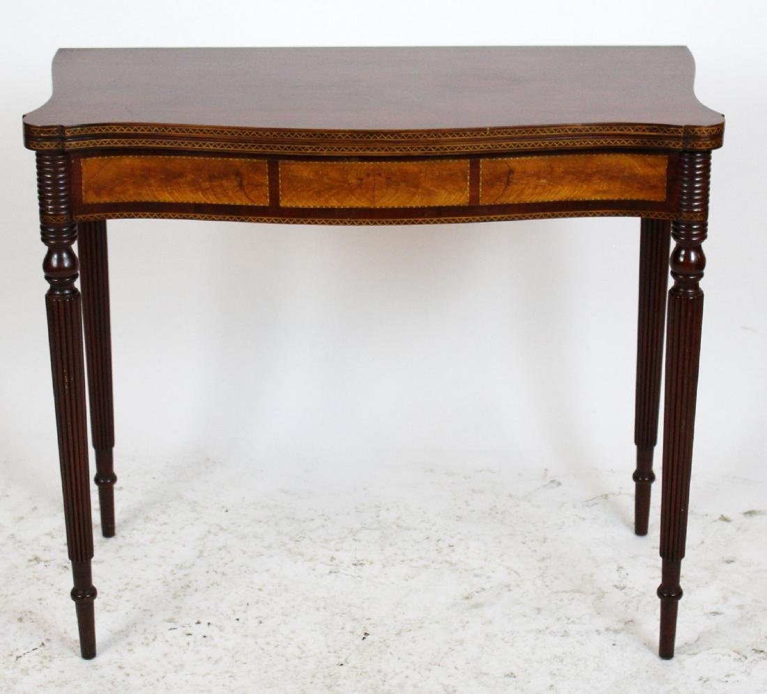 English mahogany marquetry game table