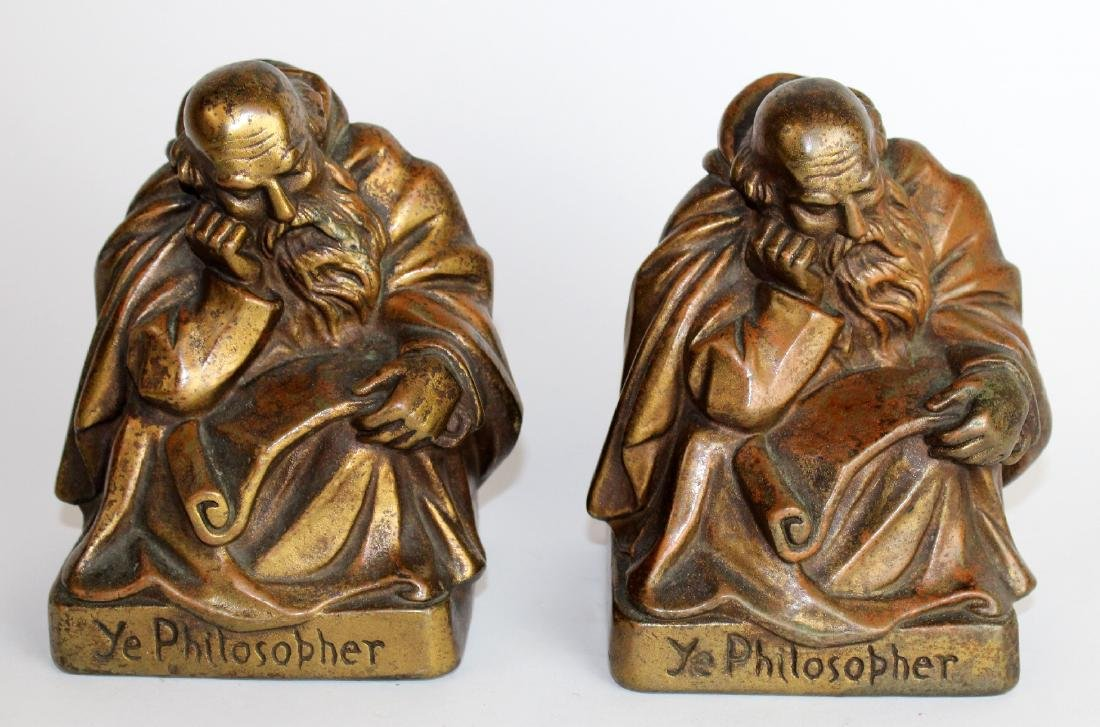 "Pair of bronze clad ""Ye Philosopher"" bookends"