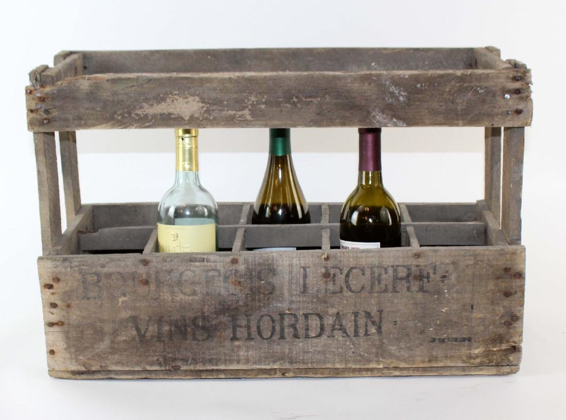 French wooden wine bottle crate