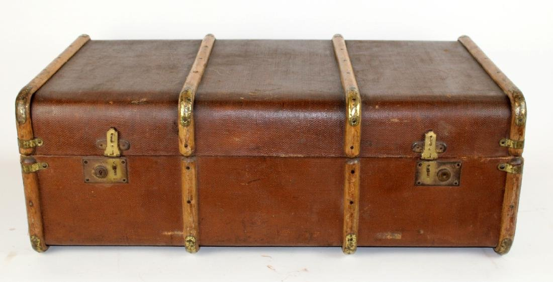 Vintage English Canvas trunk with wood trim