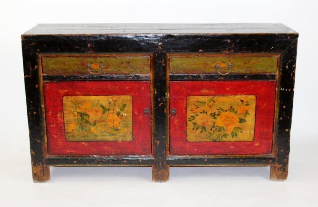 Tibetan floral painted 2 door 2 drawer sideboard