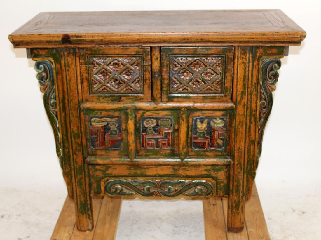 Chinese carved and painted altar table