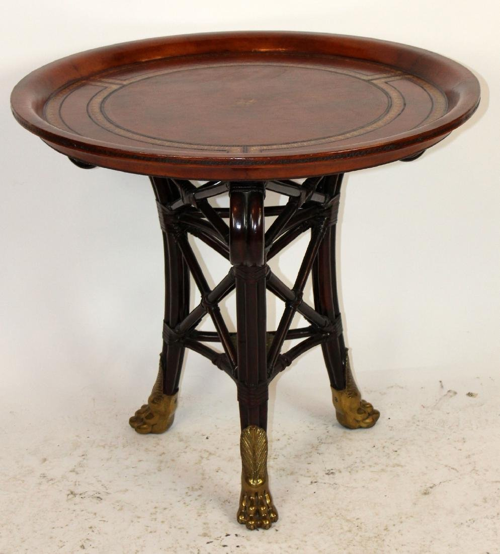 Maitland Smith round leather top side table