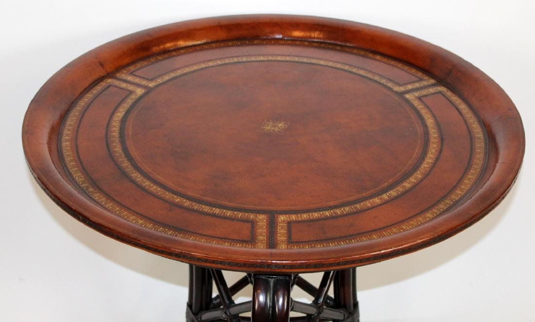 Maitland Smith round leather top side table - 2