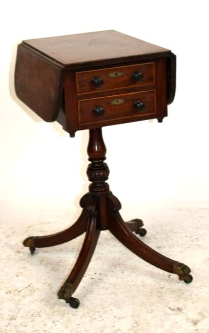 Antique English mahogany sewing table