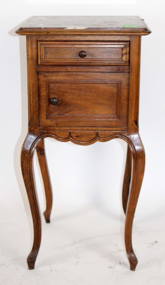 Louis XV marble top chevet in walnut