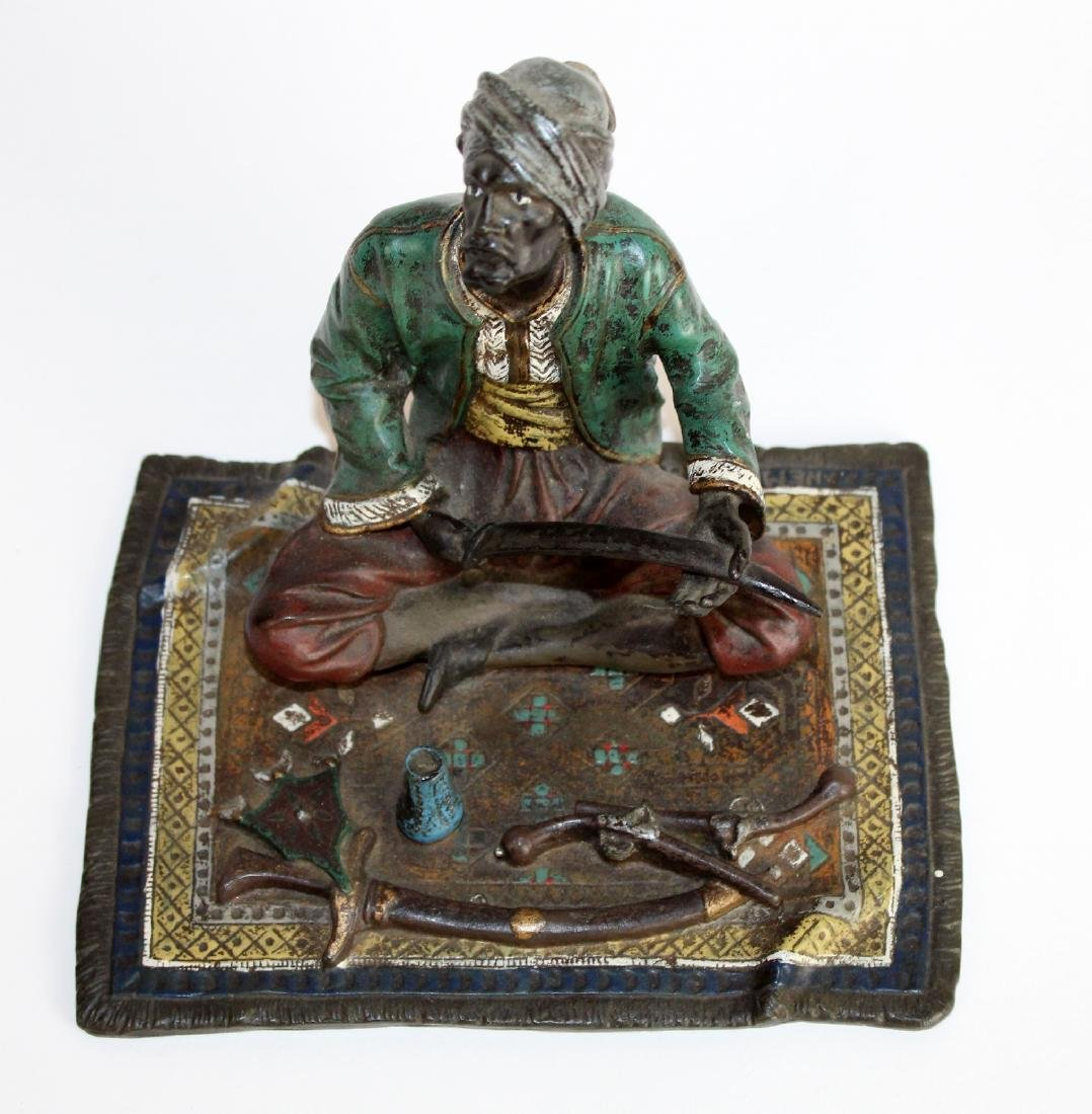 Cold painted bronze figurine of merchant - 2