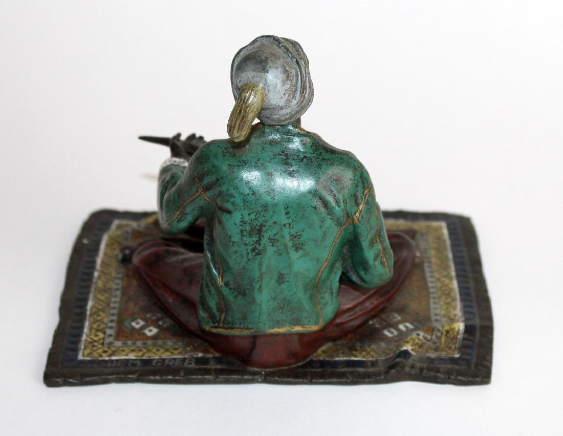 Cold painted bronze figurine of merchant - 4