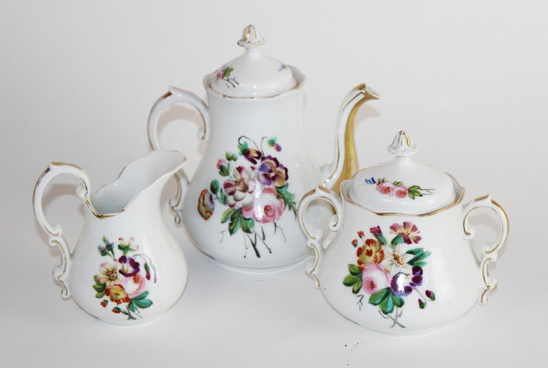 3 piece hand painted porcelain tea set
