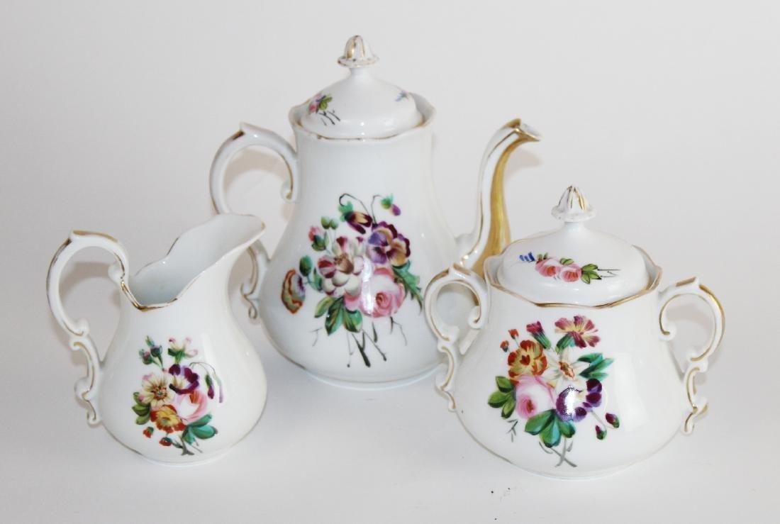 3 piece hand painted porcelain tea set
