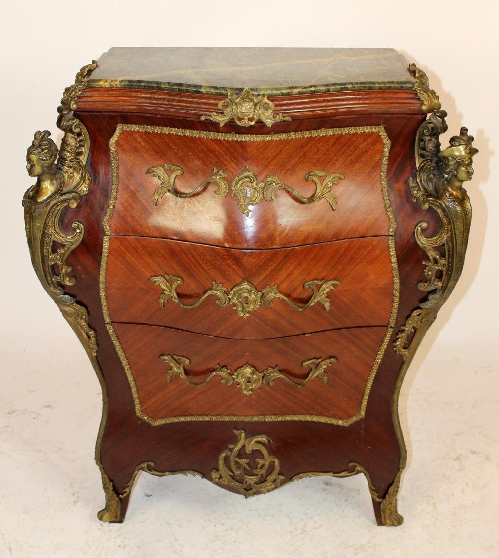 Louis XV style bombe marquetry commode