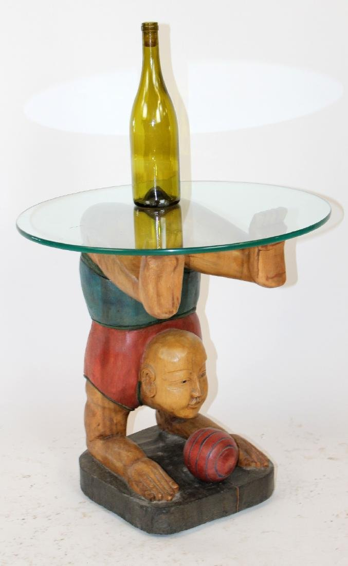Figural carved glass top side table - 3
