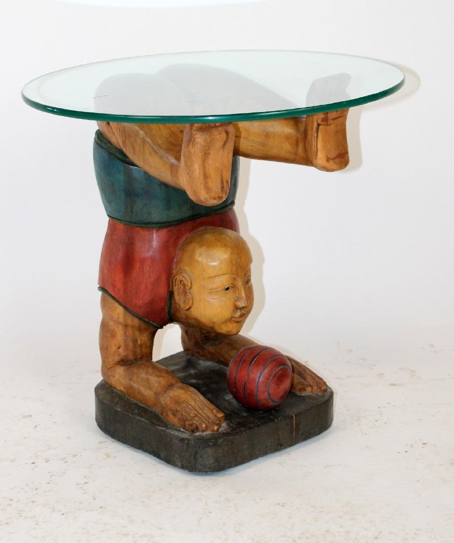 Figural carved glass top side table - 4
