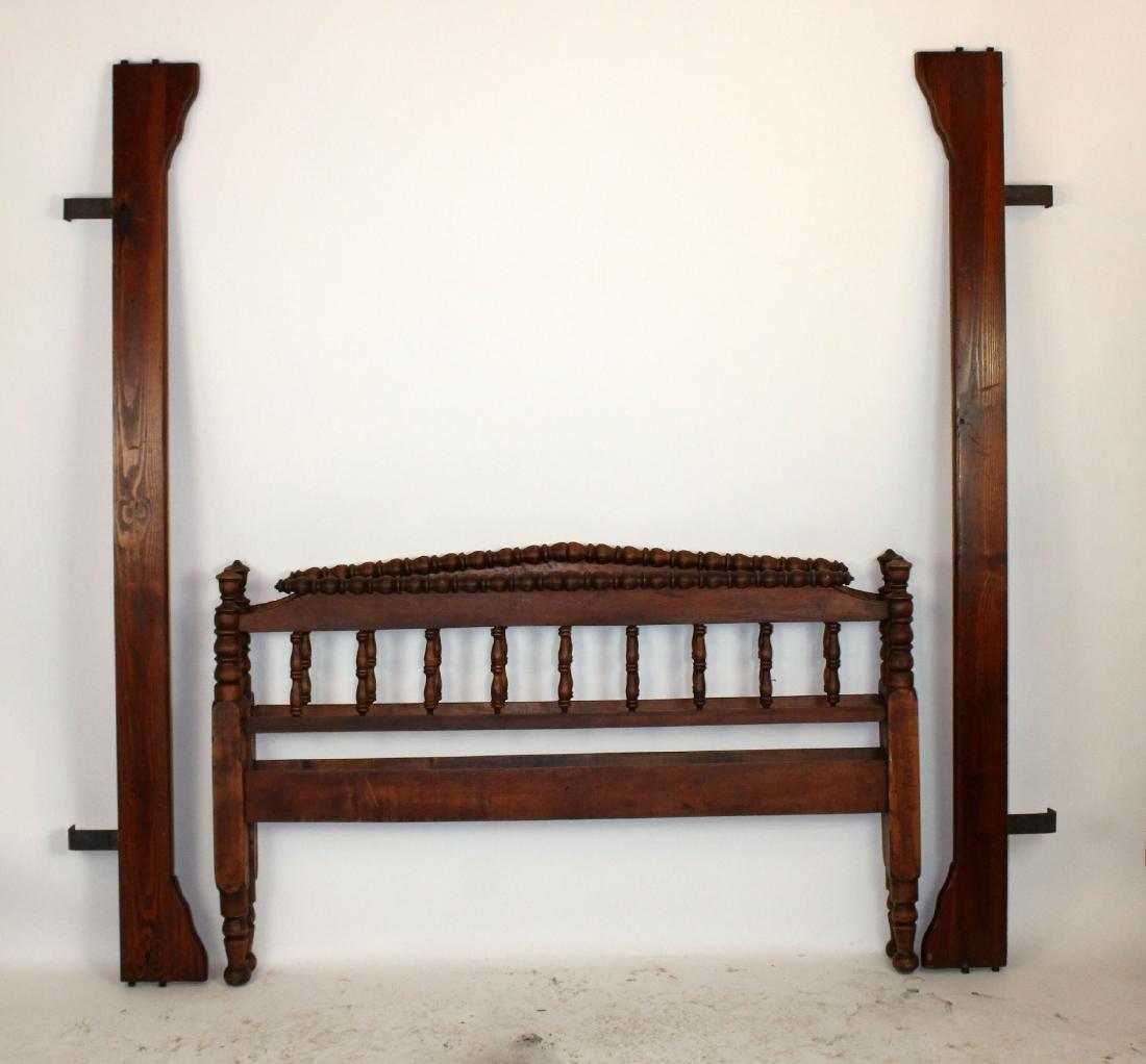 American carved bobbin bed in mahogany