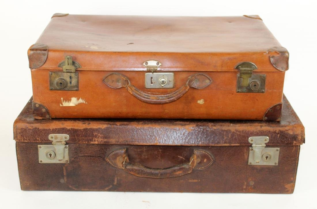 Lot of 2 vintage leather suitcases