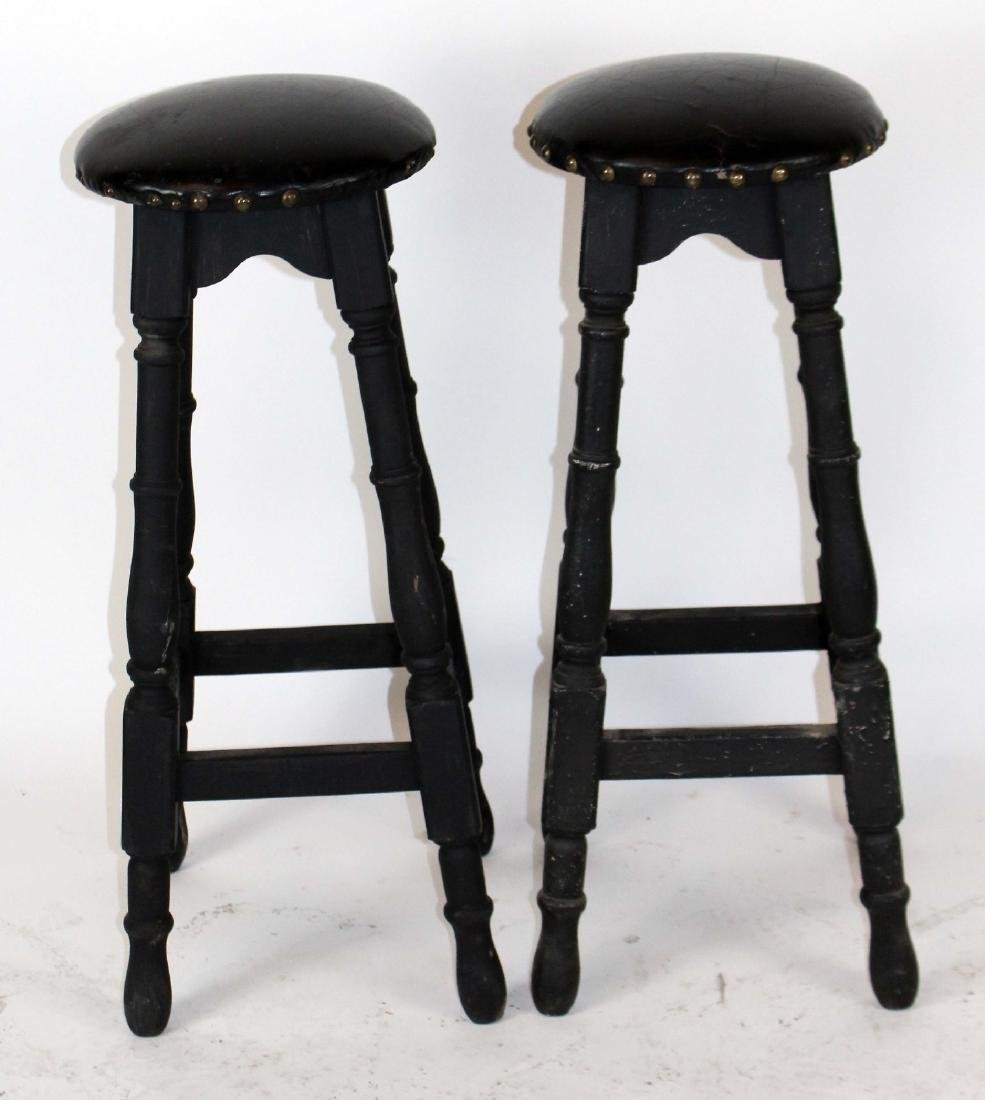 A pair of French backless bar stools