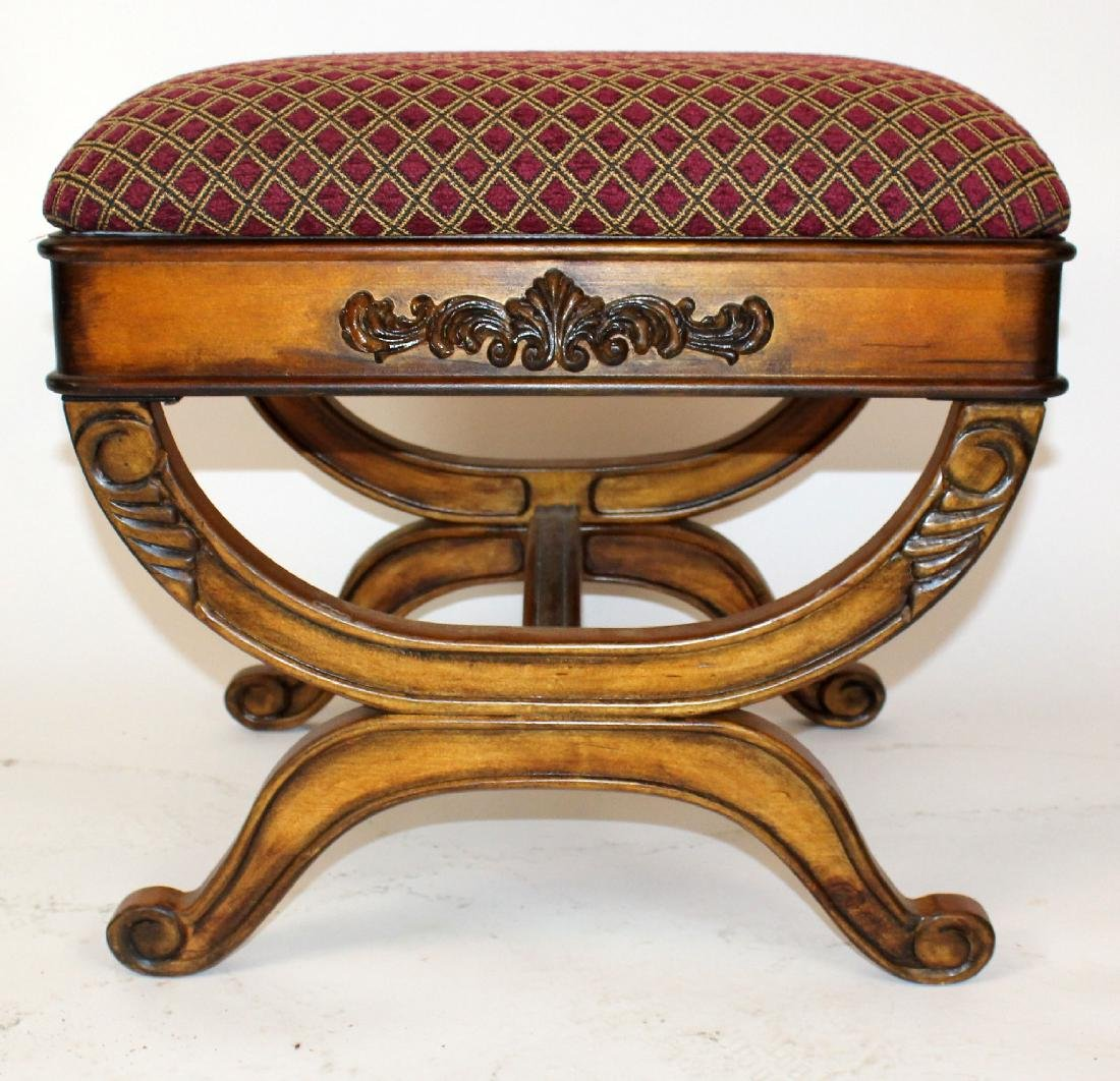 Upholstered ottoman with shaped legs - 2
