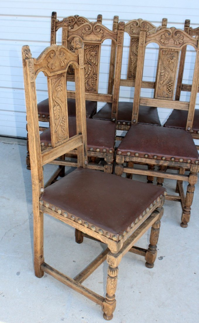 Set of 6 French chairs with leather seats - 3