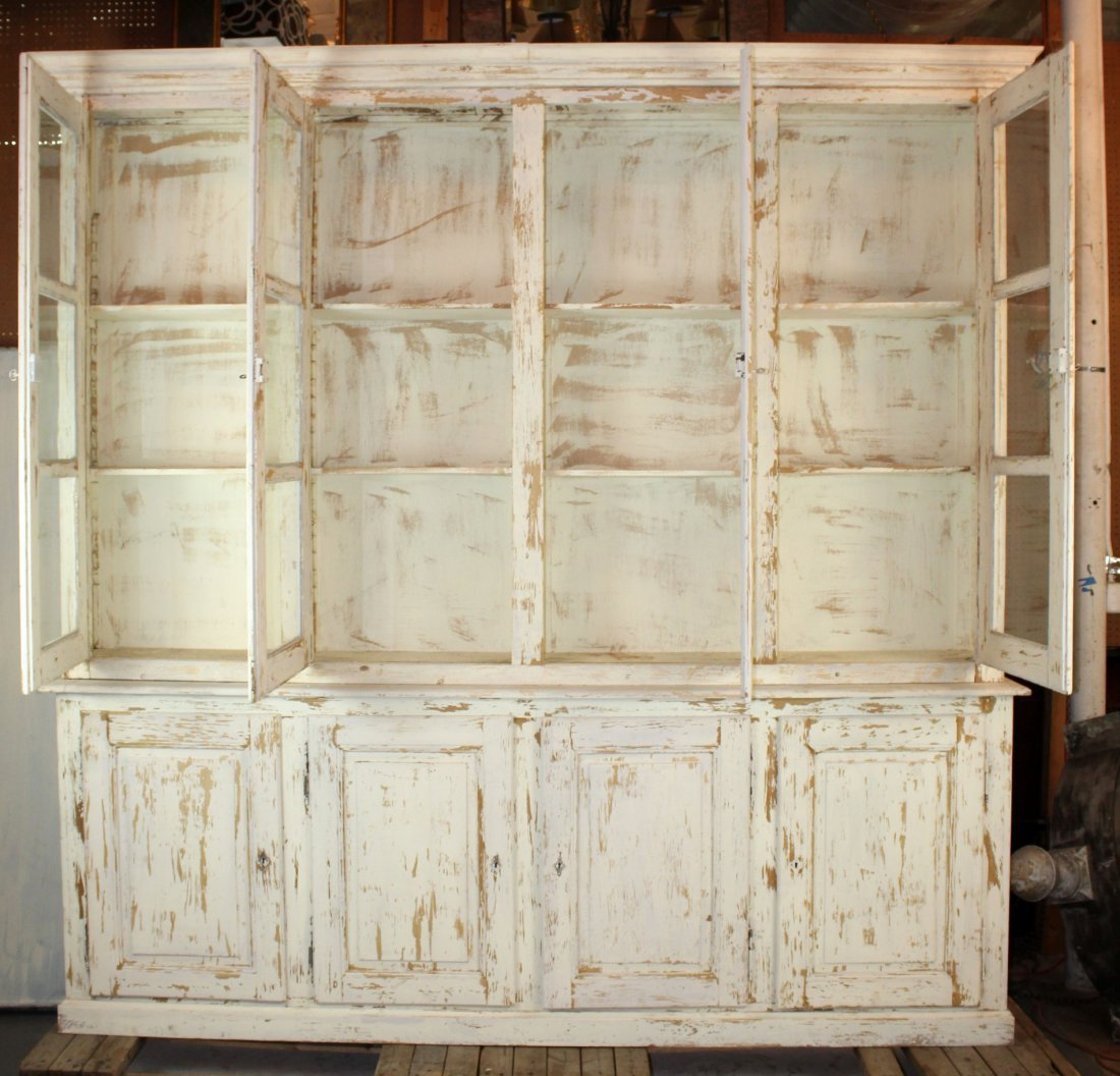 French Louis Philippe 4 door painted bookcase - 2