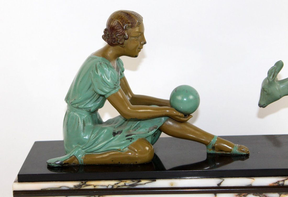 Art Deco depicting girl playing with deer - 2