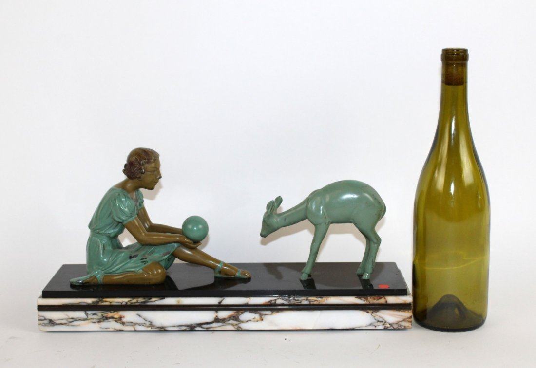 Art Deco depicting girl playing with deer - 5