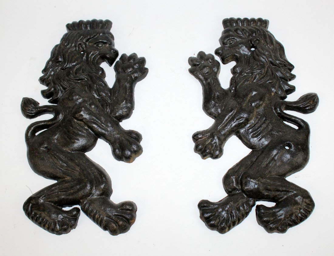 Pair of painted iron Royal lions