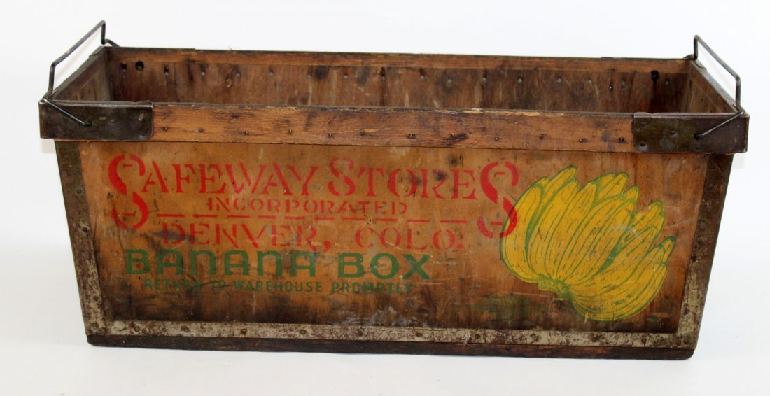 "Vintage wooden banana box ""Safeney Stores"""