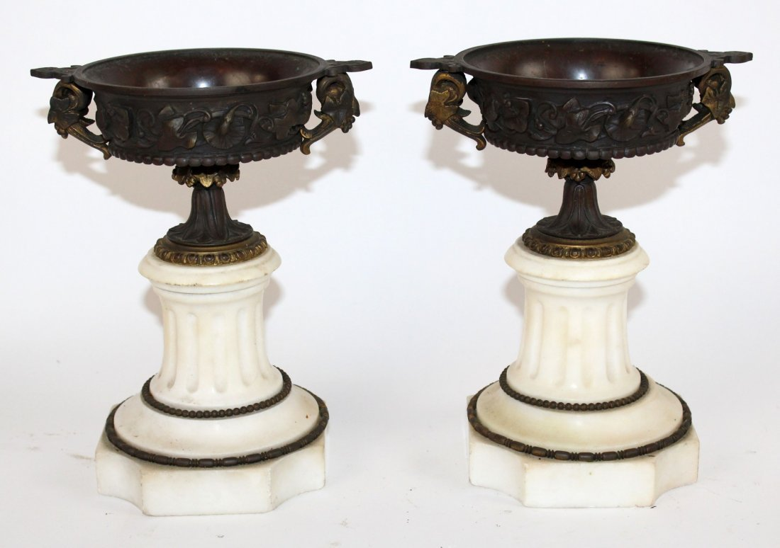 Pair of classical bronze and marble tazzos