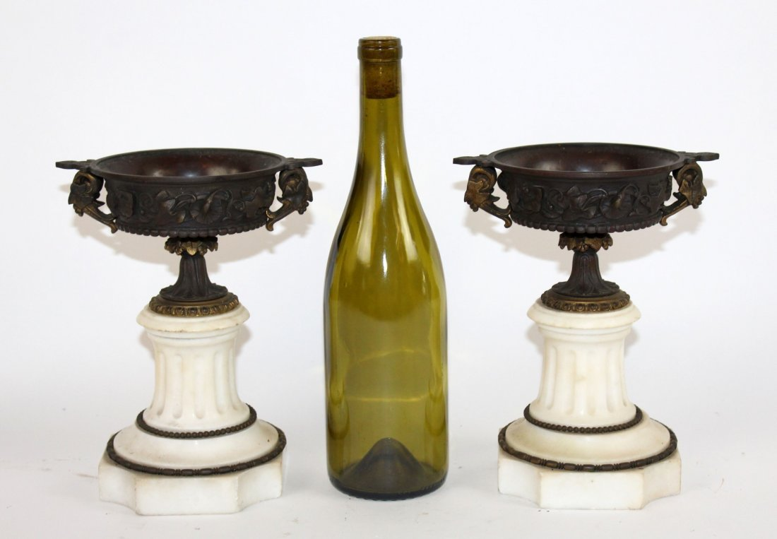 Pair of classical bronze and marble tazzos - 5