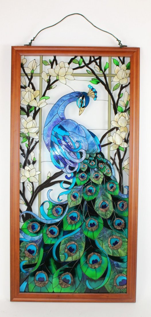 Framed Peacock painting on glass