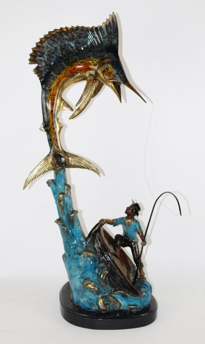 Bronze polychrome sailfish sculpture