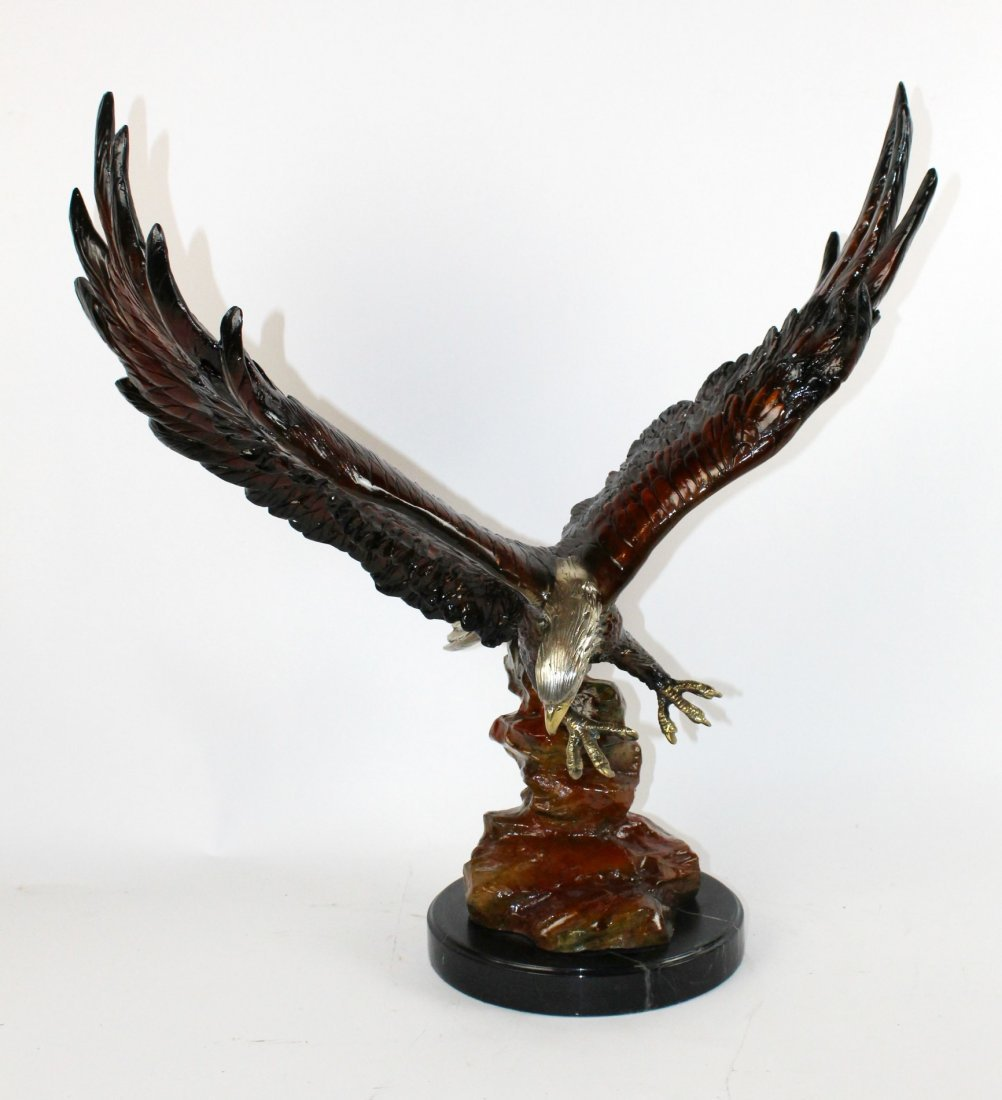 Bronze soaring eagle polchrome bronze sculpture