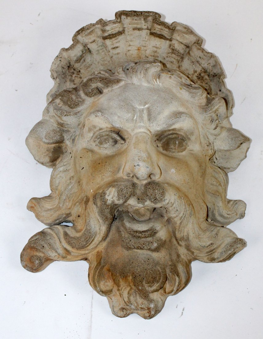 Cast concrete Bacchus mask