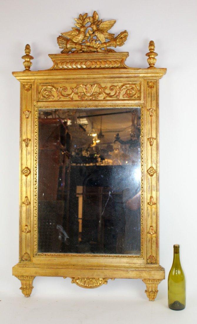 Gilt mirror with double lovebird crest - 5