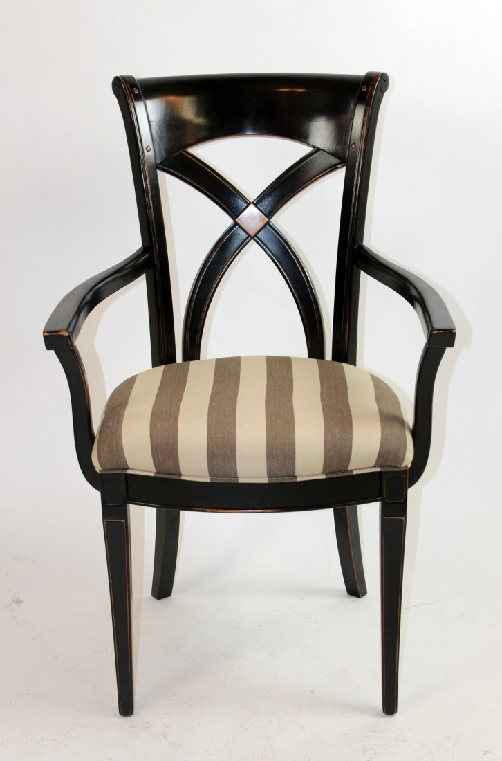 Painted black curved back armchair