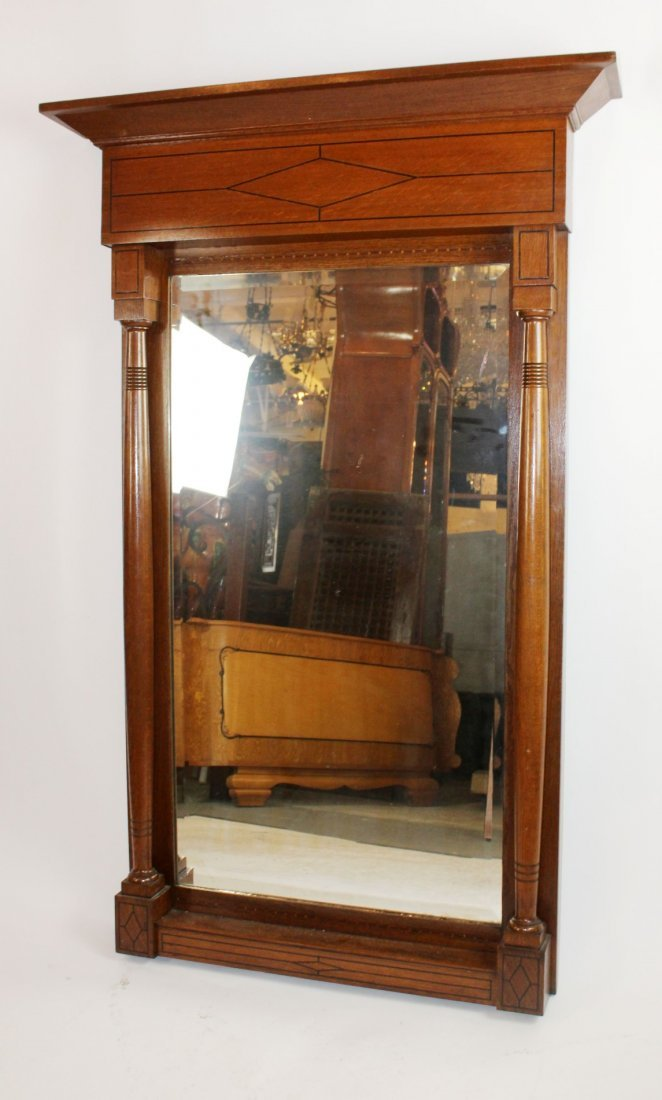 French oak framed beveled mirror