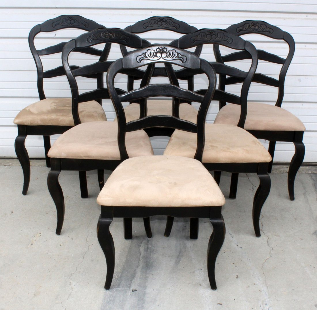 Set of 6 black rounded back dining chairs