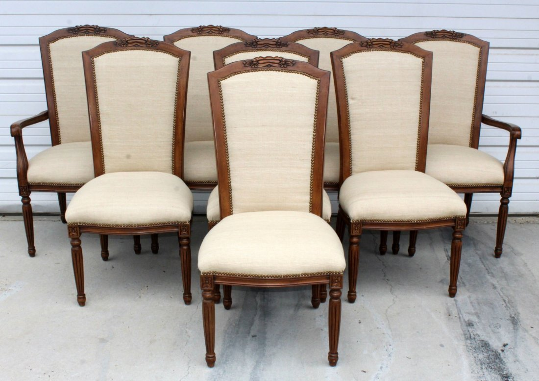 Set of 8 floral carved dining chairs