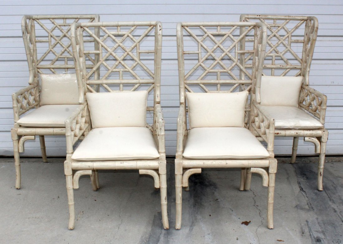 Set of 4 painted bamboo style armchairs