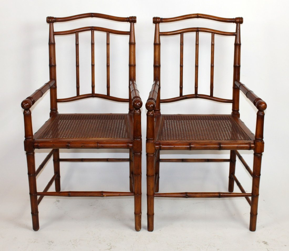 Pair of carved bamboo style armchairs
