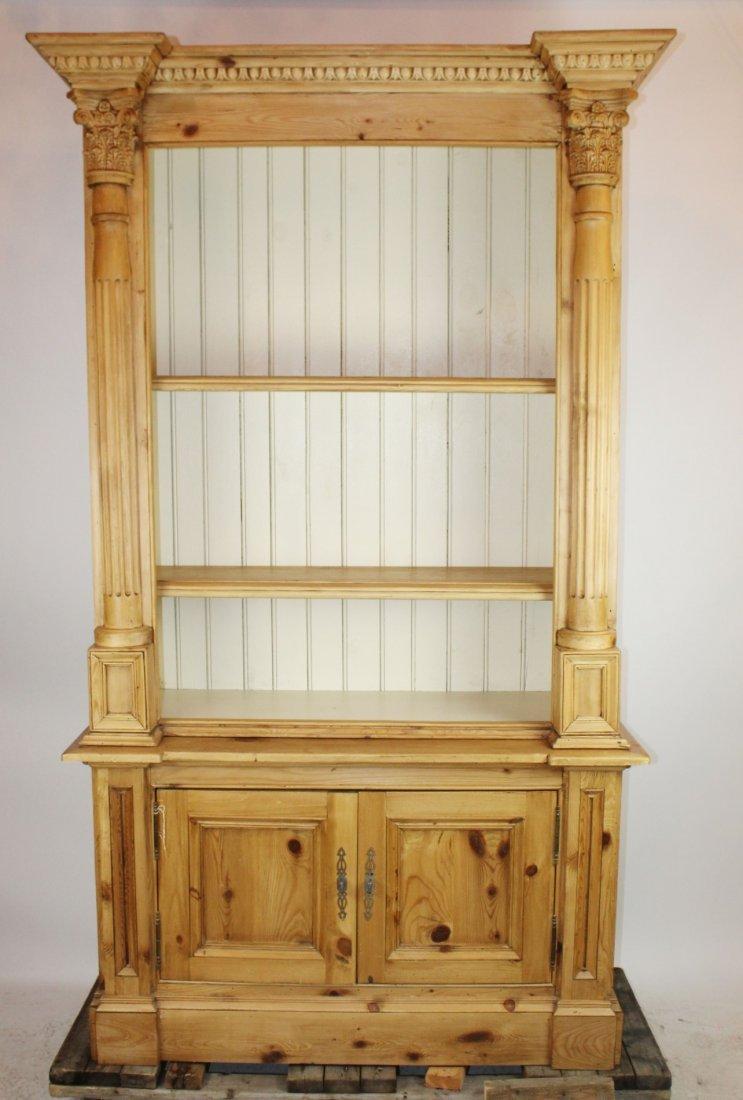 Custom made pine open bookcase