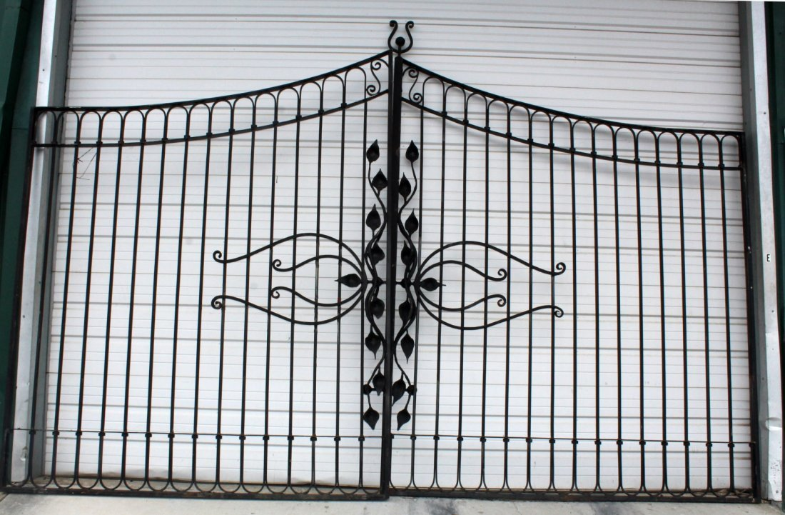 Pair of hand forged iron entry gates