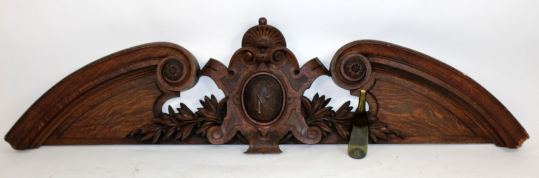 French Renaissance carved oak overdoor - 5