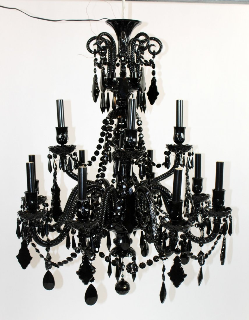 12 arm Modern black glass chandelier