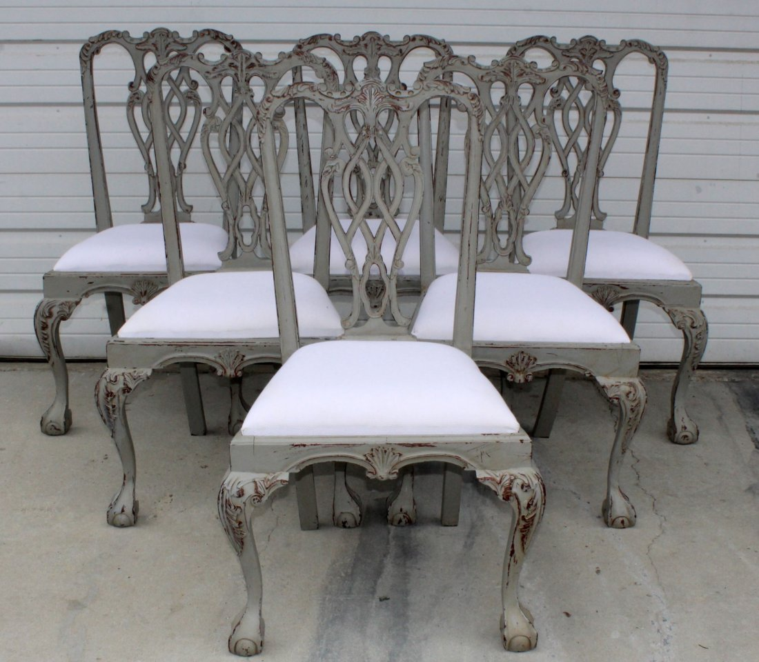 Set of 6 painted Chippendale chairs