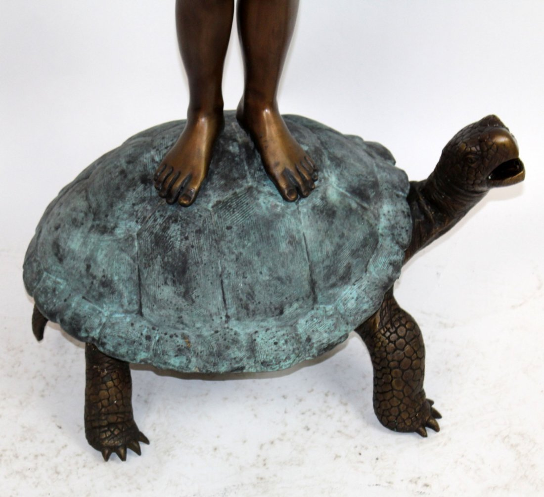 Bronze boy on turtle with frog fountain - 4