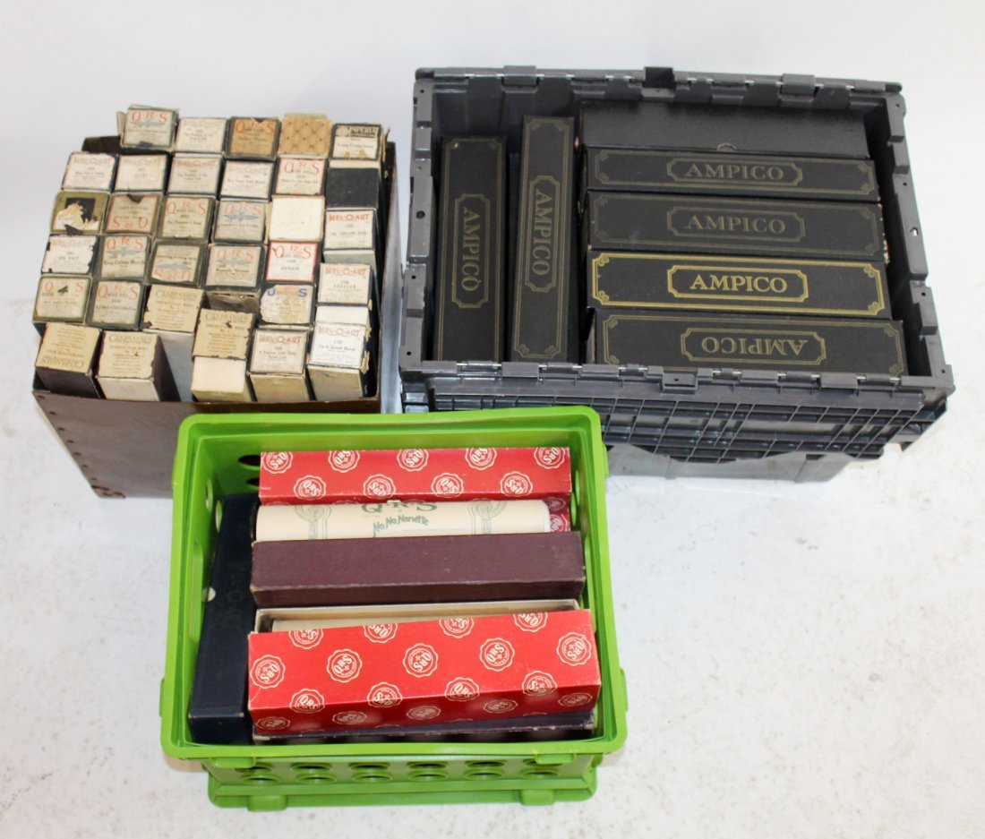 Collection of 70 antique player piano rolls